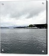 Lake Lucerne And Cruise Ships Berthed In Front Of Kkl Acrylic Print