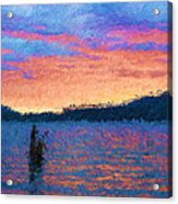 Lake Quinault Sunset - Impressionism Acrylic Print