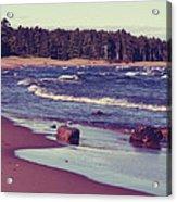 Lake Superior Beach Waves  Acrylic Print