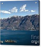 lake with Brissago islands and snow-capped mountain Acrylic Print