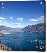 Lake With Islands And Snow-capped Mountain Acrylic Print