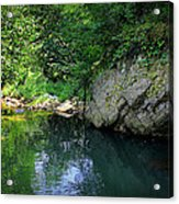 Lake With Rocks In The Mountain Acrylic Print by Radoslav Nedelchev