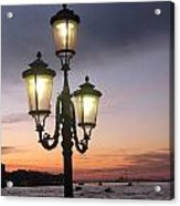 Lampost Sunset In Venice Acrylic Print by Catie Canetti
