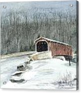 Lancaster County Covered Bridge In The Snow  Acrylic Print