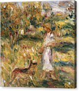 Landscape With A Woman In Blue Acrylic Print by Pierre Auguste Renoir