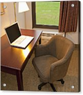 Laptop On A Hotel Room Desk Acrylic Print by Thom Gourley/Flatbread Images, LLC
