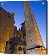 Large Pharaohs Head Statue And Obelisk Acrylic Print