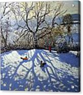 Large Tree And Tobogganers Acrylic Print by Andrew Macara