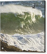 Large Waves And Seagulls Near Pemaquid Point On Maine Acrylic Print