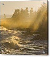 Large Waves Lightbeams Pemaquid Point Maine Acrylic Print