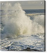 Large Waves On Rocky The Coast Maine Acrylic Print