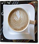 Latte With A Leaf Design Acrylic Print
