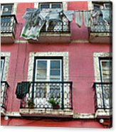 Laundry And A Pink Building  Lisbon Acrylic Print