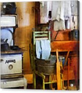 Laundry Drying In Kitchen Acrylic Print by Susan Savad