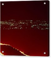 Lava Flow At Night Acrylic Print by Dr Juerg Alean