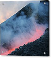Lava Flowing From Base Of Hornito Acrylic Print