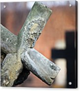 Leaning Cross At Cemetery Acrylic Print