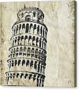 Leaning Tower Of Pisa On Old Paper Acrylic Print by Setsiri Silapasuwanchai