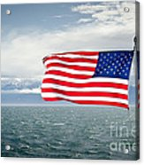 Leaving The Olympics Stars And Stripes On The Straits From The Olympic Mountains Acrylic Print