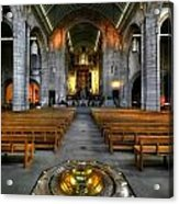 Leeds Cathedral Baptismal Font And Nave Acrylic Print