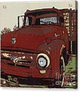Leeser's Truck - Linocut Print Acrylic Print