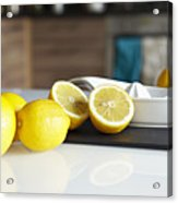 Lemons And Juicer On Kitchen Counter Acrylic Print