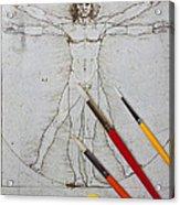 Leonardo Artwoork And Brushes Acrylic Print by Garry Gay