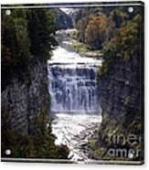 Letchworth State Park Middle Falls With Watercolor Effect Acrylic Print
