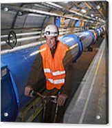 Lhc Tunnel, Cern Acrylic Print by David Parker