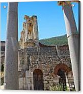 Library Of Celsus And Columns Acrylic Print