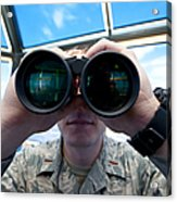 Lieutenant Uses Binoculars To Scan Acrylic Print by Stocktrek Images