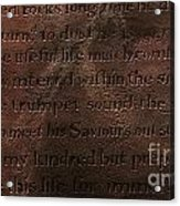 Life For Immortality - The Explorers Grave - Belleville Dutch Reformed Church Acrylic Print