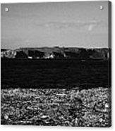 Lifebelt On Rocks At Ballintoy With Moyle Sea And Rathlin Island Acrylic Print by Joe Fox