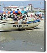 Lifeguard Boat At Ocean City Boardwalk New Jersey Acrylic Print