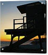Lifeguard Silhouette Acrylic Print by Mariola Bitner