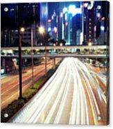 Light Trails At Traffic On Street At Night Acrylic Print