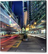 Light Trails On Street At Night Acrylic Print