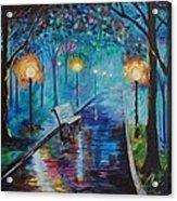 Lighted Park Path Acrylic Print