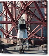 Lighthouse Atop Fort Point Next To The San Francisco Golden Gate Bridge - 5d18999 Acrylic Print by Wingsdomain Art and Photography
