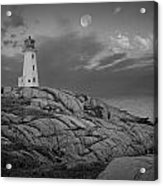 Lighthouse In The Moonlight At Peggy's Cove Nova Scotia Canada Acrylic Print