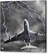 Lighting Striking An Aeroplane, Composite Acrylic Print