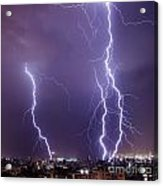 Lightning In The City Acrylic Print