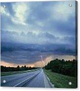 Lightning Over Highway, Bee Line Acrylic Print
