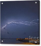 Lightning Over The Pier Acrylic Print