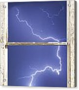 Lightning Strike White Barn Picture Window Frame Photo Art  Acrylic Print