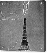 Lightning Strikes Eiffel Tower, 1902 Acrylic Print