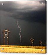 Lightning Striking Behind Saskatchewan Power Line Acrylic Print