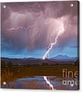 Lightning Striking Longs Peak Foothills 2 Acrylic Print