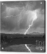 Lightning Striking Longs Peak Foothills 2bw Acrylic Print