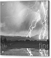 Lightning Striking Longs Peak Foothills 4bw Acrylic Print